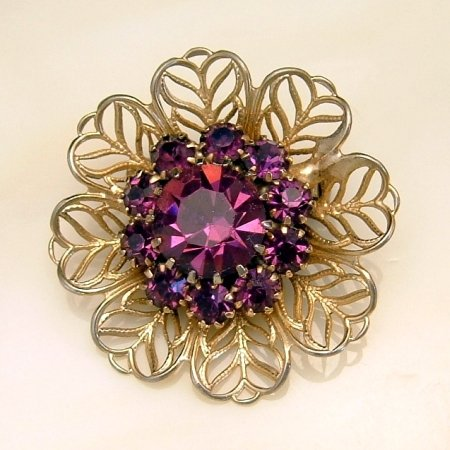 Vintage Filigree Flower Brooch Pin Purple Rhinestones