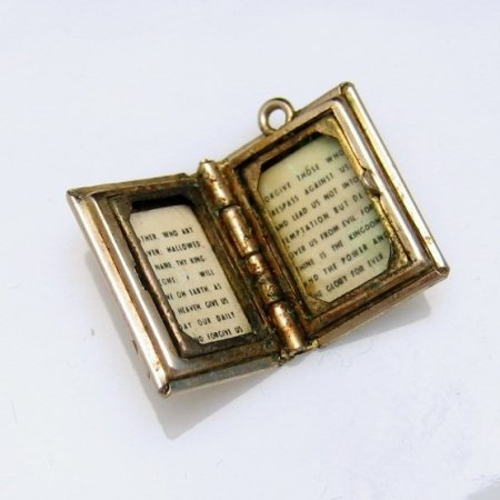 Vintage Bible Charm Opens Lord's Prayer Christian Religious