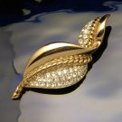 Designer CRAFT Vintage Rhinestone Brooch Pin Large Leaf