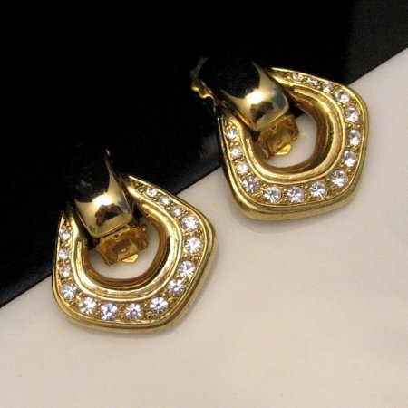 Vintage Rhinestone Clip Earrings Goldtone Door Knockers