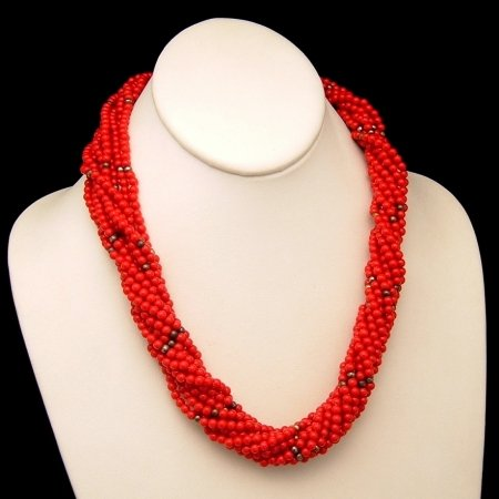 Vintage Chunky Torsade Necklace Multi Strand Red Seed Beads