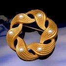 Vintage Circle Brooch Matte Goldtone Swirl Faux Pearls