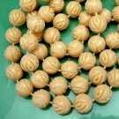 Vintage Chunky 51 inch Long Necklace 1-2 Strand Carved Plastic Beads