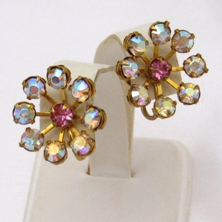 Vintage Rhinestone Flower Earrings Purple Aurora Borealis