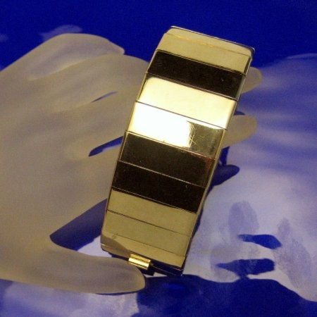 Vintage Wide Bracelet Shiny Vertical Goldtone Links