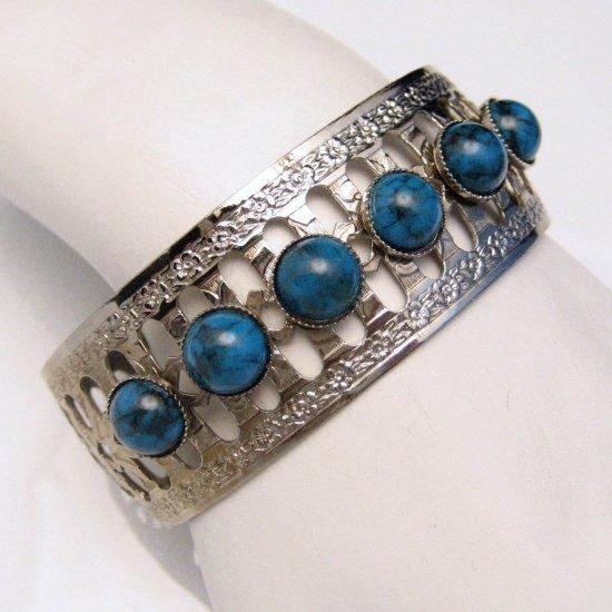 Vintage Silvertone Bracelet Wide Cuff Bangle Faux Turquoise Stones