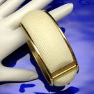 SARAH COVENTRY Vintage Bracelet Wide Hinged Bangle Cuff Cream Colored
