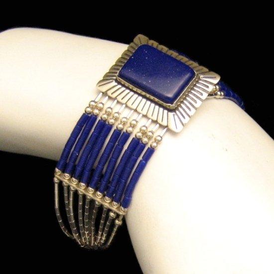 Vintage Signed 925 Sterling Silver Bracelet Wide Blue Beads