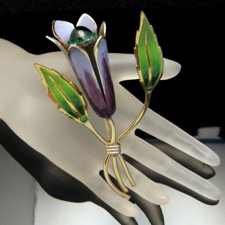 Vintage Flower Brooch Pin Purple Green Enamel Glass Stone