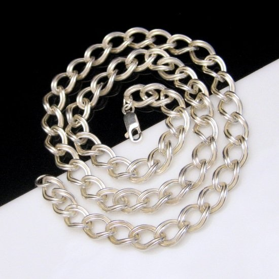 925 Sterling Silver Necklace Thick Double Link Chain