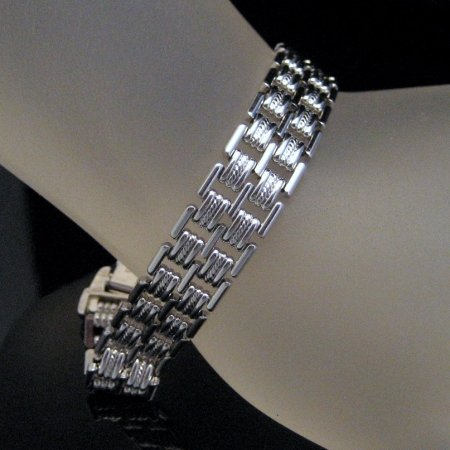 AVON Vintage Panther Link Bracelet Silvertone Fluid