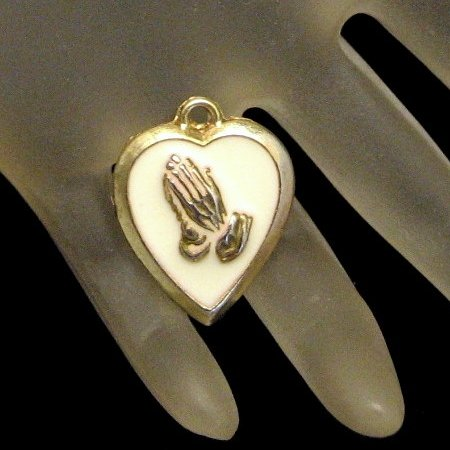 Vintage Enamel Heart Charm Pendant Praying Hands Religious
