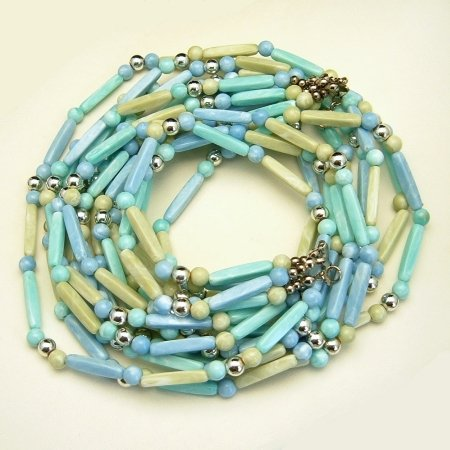 Vintage Long 30 Inches Chunky Necklace 5 Multi Strands Blue Green Beads