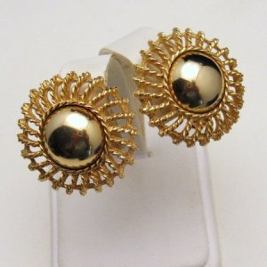 Vintage Clip Earrings Shiny Goldtone Globes Sunburst