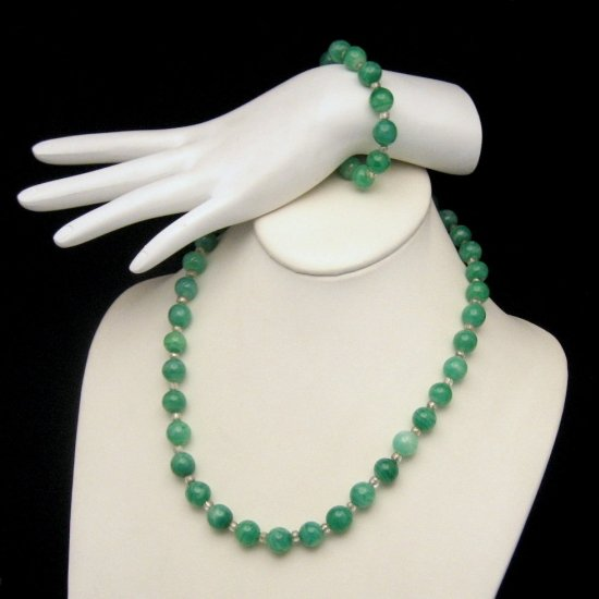 Bracelet Necklace Set Green Art Glass Lampwork Beads