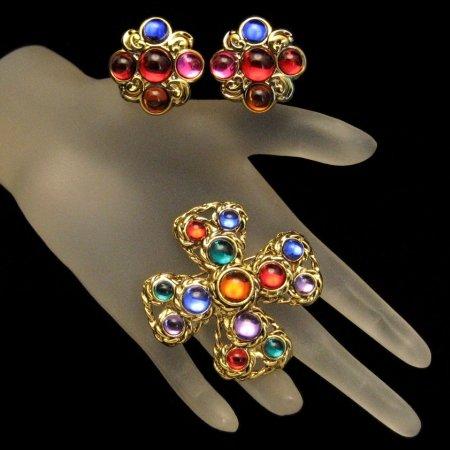 Vintage Maltese Cross Brooch Pin Earrings Red Blue Jewels