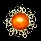 Vintage Filigree Wire Work Brooch Pin Large Amber Stone
