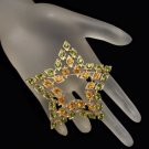 SARAH COVENTRY Vintage Star Brooch Pin Green Orange Rhinestones