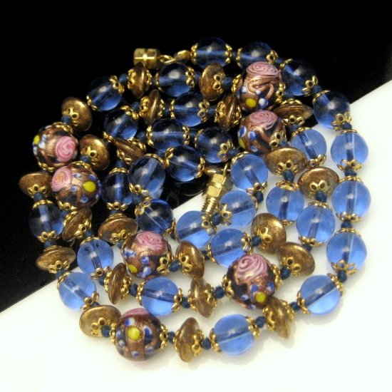 Vintage Necklace Blue Glass Saucer Pink Wedding Cake Beads