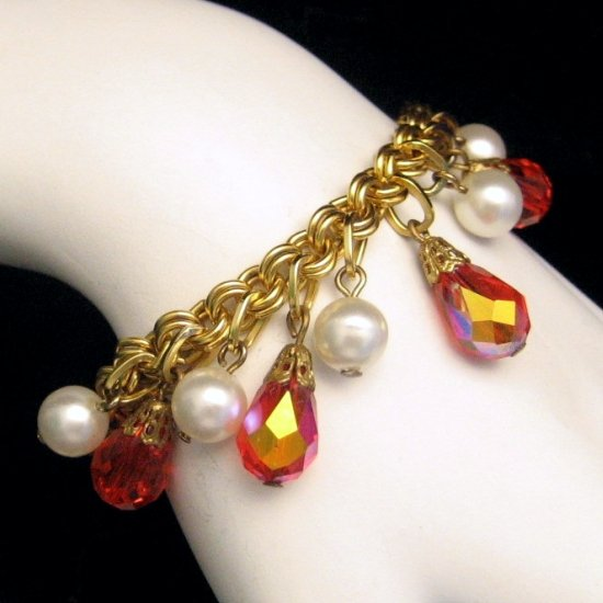 Vintage Bracelet Chunky Cha Cha Orange Crystals Aurora Borealis AB Dangles