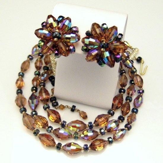 Vintage Crystal Bead Necklace Earrings Set 3 Multi Strands Swarovski