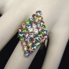 Vintage Large Rhinestone Cocktail Ring Blue Pink Size 6.5