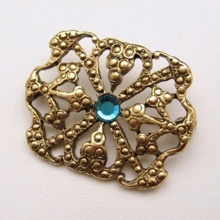 Vintage Brooch Pin Pendant Victorian Style Teal Rhinestone