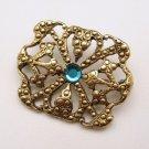 Vintage Brooch Pin Pendant Victorian Style Teal Rhinestone