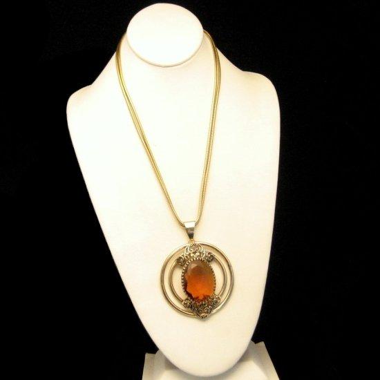 Vintage Chain Necklace Large Topaz Glass Stone Pendant