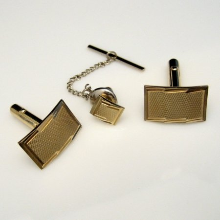 ANSON Vintage Cuff Links Tie Tac Set Textured Goldtone