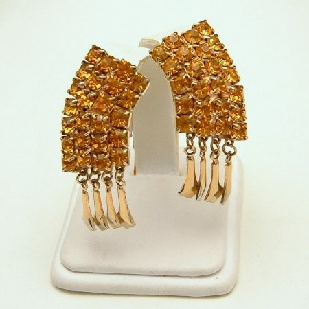 Vintage Earrings Topaz Rhinestones Goldtone Dangles Runway