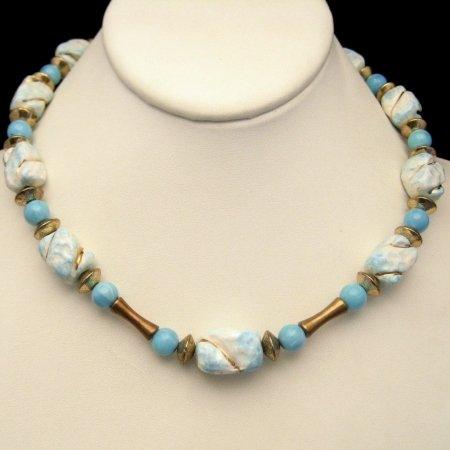 Vintage Chunky Necklace Blue White Glass Goldtone Beads