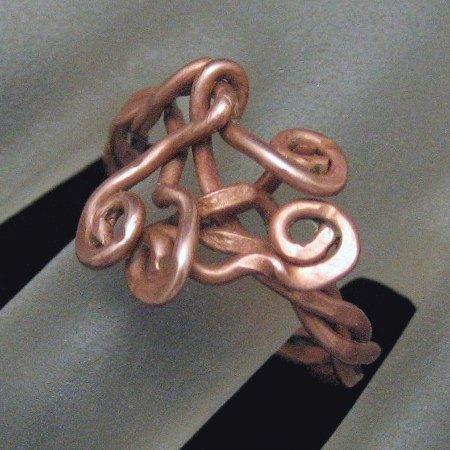 Vintage Artisan Ring Abstract Modernist Copper Design