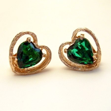 Signed ART Vintage Earrings Large Green Glass Hearts