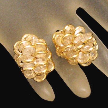 MONET Vintage Clip Earrings Bezel Set Crystals Clusters