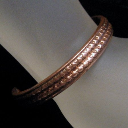Vintage Copper Cuff Bracelet Unique Patterned Design