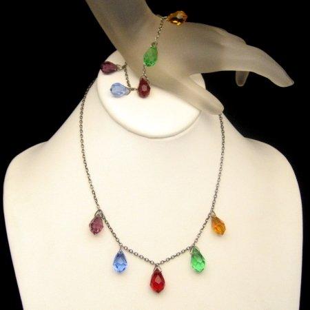 ART DECO  Vintage STERLING Silver Necklace Bracelet Set Colored Briolette Dangles