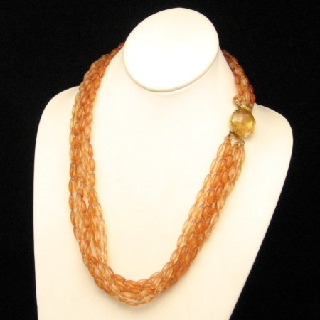 Vintage Necklace 7 Multi Strands Chunky Torsade Orange Beads