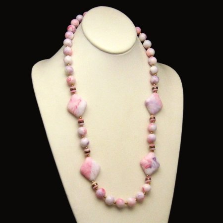 Vintage Chunky Long Necklace White Pink Red Purple Beads