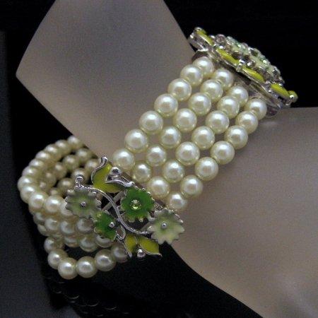 Vintage Bracelet 4 Strands Faux Pearls Enamel Rhinestones