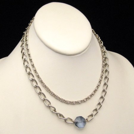 Vintage Two Strand Scroll Chain Necklace Blue Stone