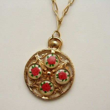 Vintage Long Necklace Watch Style Pendant Roses Flowers