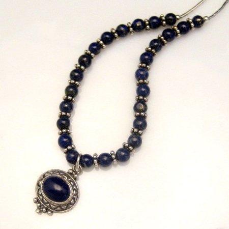 Sterling Silver Necklace Genuine Lapis Lazuli Bali Beads
