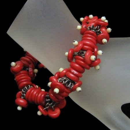 Vintage Chunky Cha Cha Bracelet Red Coral Beads Dangles