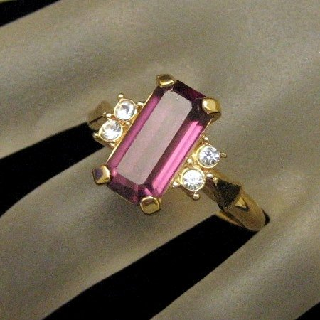 "AVON Vintage Cocktail Ring Large Purple Glass ""Faux Amethyst"" Stone Rhinestones"
