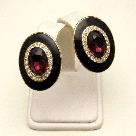 Vintage Clip Earrings Black Enamel Purple Glass Rhinestones