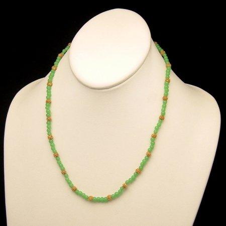 LES BERNARD Vintage Necklace Green Glass Beads Goldtone