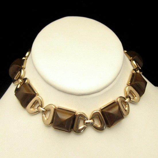 Signed TRIFARI Vintage Choker Necklace Bows Brown Squares