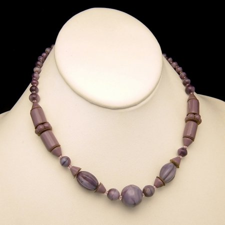 Art Deco CZECH Vintage Necklace Purple Blue Glass Beads