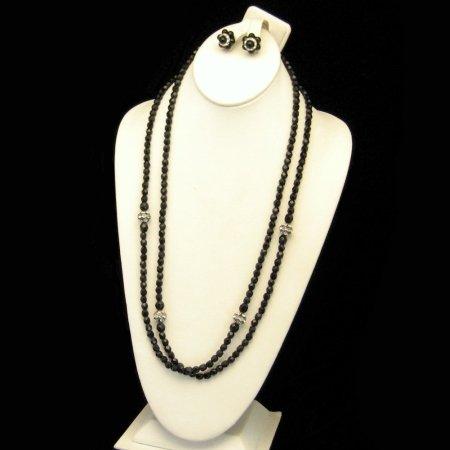 Vintage Necklace Earring Set Black Crystal Glass Rhinestones